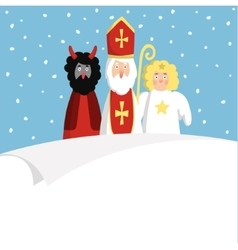 St Nicholas with devilangel and blank paper vector