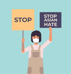 stop asian hate girl in mask holding banners vector image