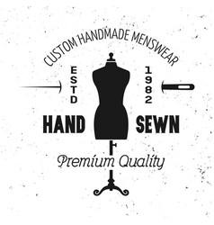 tailor shop black emblem with mannequin vector image
