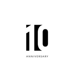 ten anniversary minimalistic logo tenth years vector image