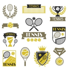Tennis banners ribbons and badges with icons vector image