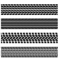 Tire tracks silhouettes vector