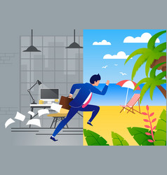 Tired businessman escapes job and hurries to rest vector