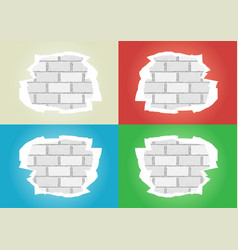 torn wallpapers white brick wall vector image