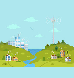 transmission tower on landscape with signal waves vector image