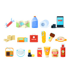 travel necessities sett first aid kit rope vector image