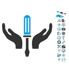 Tuning Screwdriver Maintenance Icon With Copter vector