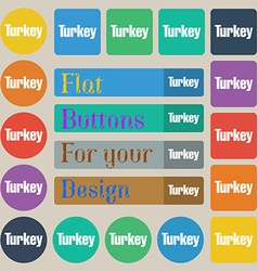 Turkey icon sign Set of twenty colored flat round vector image