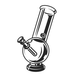 Vintage glass bong monochrome template vector