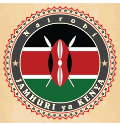 Vintage label cards of Kenya flag vector image