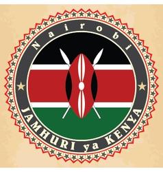 Vintage label cards of Kenya flag vector