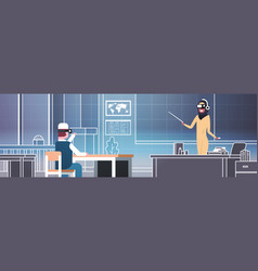 vr school lesson with arab man student and female vector image vector image