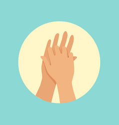 Washing hands between fingers round vector