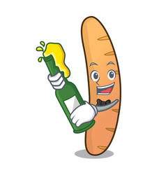 With beer baguette mascot cartoon style vector
