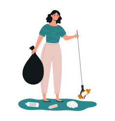 young female character is collecting trash vector image
