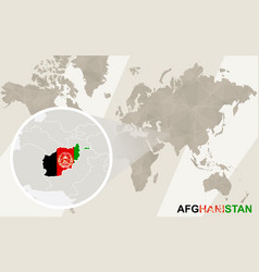 Zoom on afghanistan map and flag world map vector