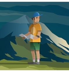 Man with map lost in the mountains vector image