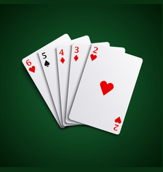 poker hand cards straight combination template vec vector image