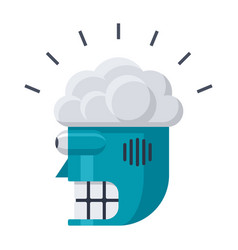 robot head with brain icon vector image vector image