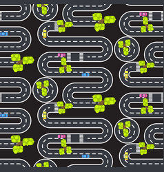 top view winding roads and streets seamless vector image