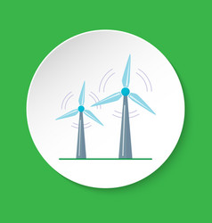 Wind turbine icon in flat style on round button vector