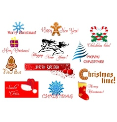 New Year and Chrismas symbols vector image