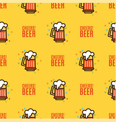 seamless pattern with foam beer in large mugs f vector image vector image