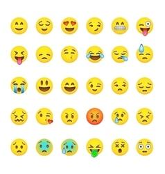 Set of cute smiley emoticons emoji flat design vector