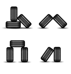 Set of four Tire tracks in stock vector image vector image