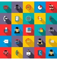 Support service 24 hours icons set flat style vector image vector image