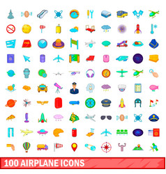 100 airplane icons set cartoon style vector image