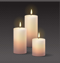 candles burning with fire realistic vector image