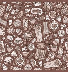 cartoon cute hand drawn mexican food seamless vector image vector image