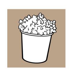 cinema popcorn in a big black and white striped vector image vector image