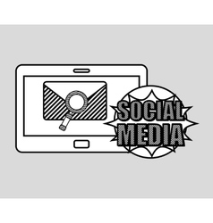 hand drawing email search social media mobile vector image vector image