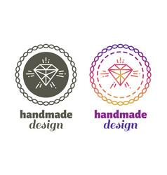hand made design labels - hand craft emblems vector image vector image