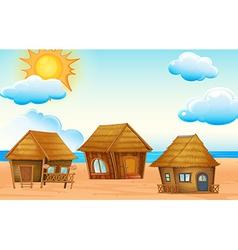 Huts on beach vector image
