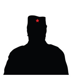 man silhouette with red star on hat vector image vector image
