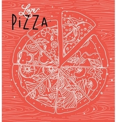 Poster love pizza coral vector image vector image