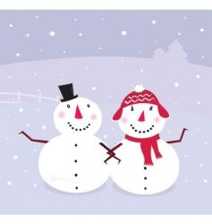 Winter snowman snowwoman vector