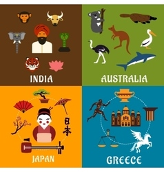 India Greece Japan and Australia travel icons vector image