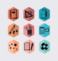 inky black hand drawn hexagon school icons set vector image