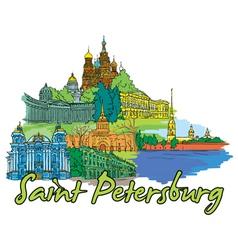 saint petersburg doodles vector image vector image