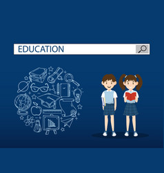 two students with education search engine bar vector image vector image
