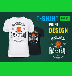 u-neck t-shirt with basketball ny team sign vector image vector image