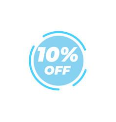 10 percent off sale label design template vector