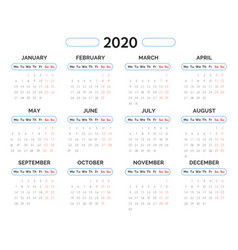 2020 year calendar template in blue and red vector image