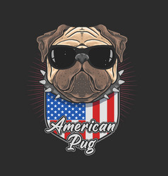 american pug with black glasses coll pug cute dog vector image