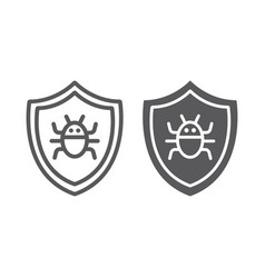antivirus line and glyph icon technology and vector image