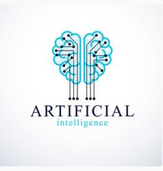 artificial intelligence concept logo design human vector image